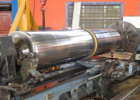 Rectificado de rodillo precisión de 2 centésimas de milímetro, Rodillo de prensa PAPELBOL